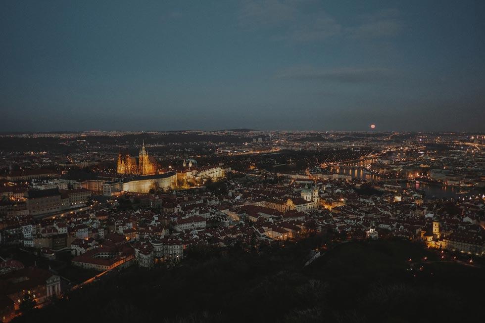 View from Petrin Lookout Tower, Prague Wedding Photographer