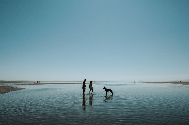 vancouver beach engagement photos with dog