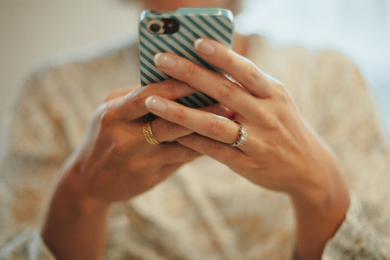 Bride with iPhone