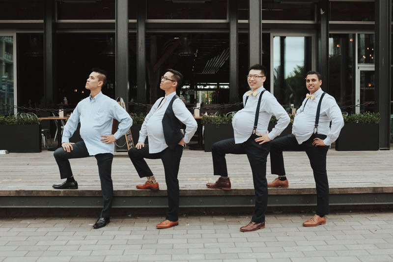 Tomasz Wagner Photographer, Olympic Village Wedding Vancouver, Creative Groomsmen Shots, Pregnant Groomsmen