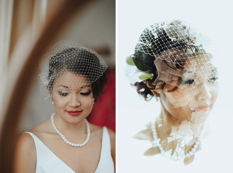 Tomasz Wagner Photographer, Vintage Birdcage Veil, Double Exposure Bridal Portrait