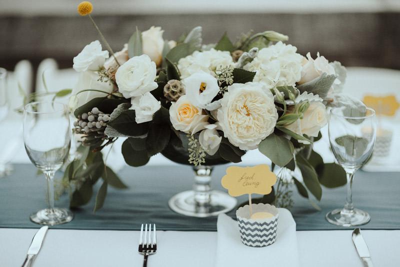 Tomasz Wagner Photographer, Celsia Floral Arrangement, Rustic Flower Centrepieces, Vancouver Wedding Florists, White Wedding Flowers
