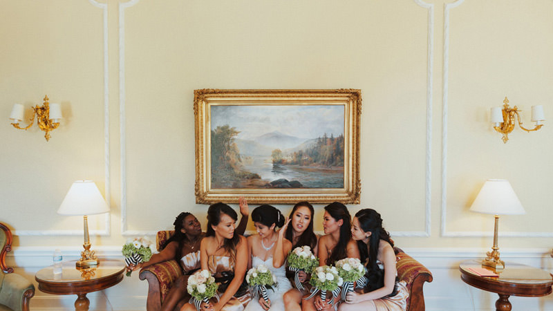 bridesmaids bouquets with striped ribbon