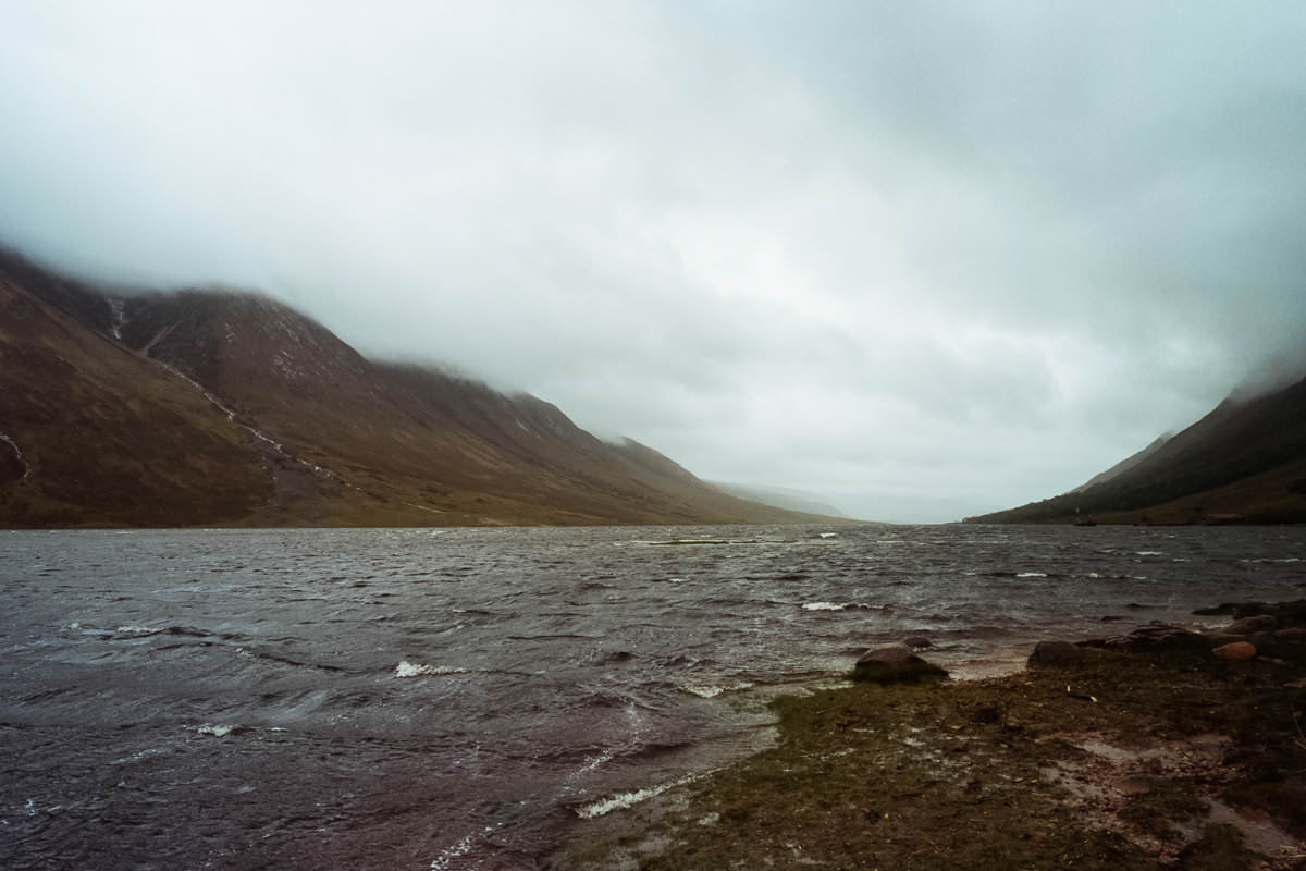 Driving Glen Etive scotland photographing on contax g2 film camera and kodak portra 160
