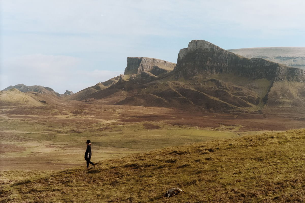 Quiraing Isle of Skye scotland photographing on contax g2 film camera and kodak portra 160