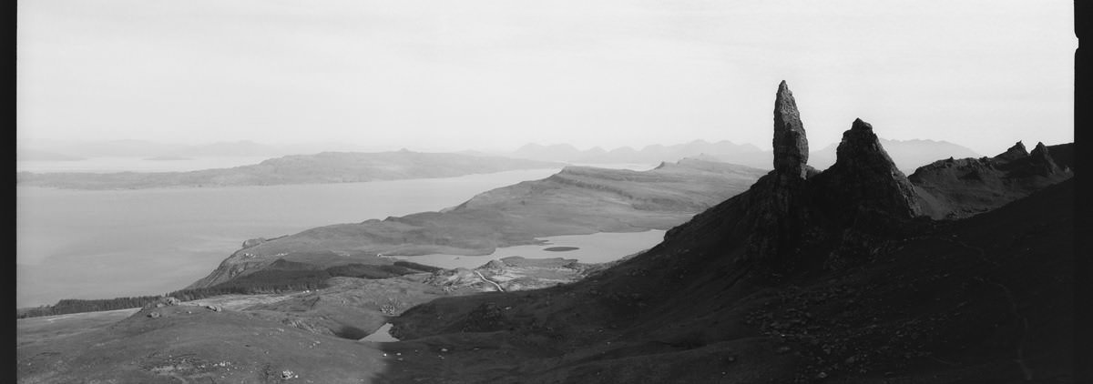 Old Man of Storr scotland photographing on hasselblad xpan panoramic film camera and kodak trix 400