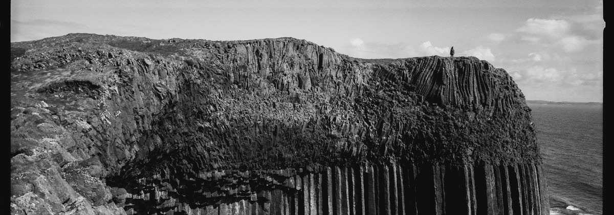 Isle of Staffa Tours scotland photographing on hasselblad xpan panoramic film camera and kodak trix 400