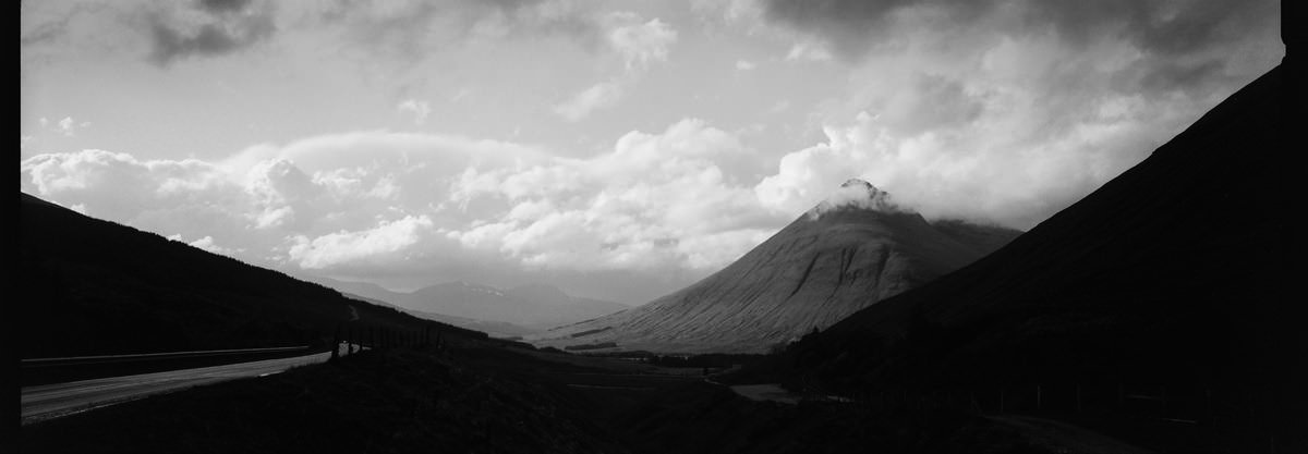 Glencoe scotland photographing on hasselblad xpan panoramic film camera and kodak trix 400