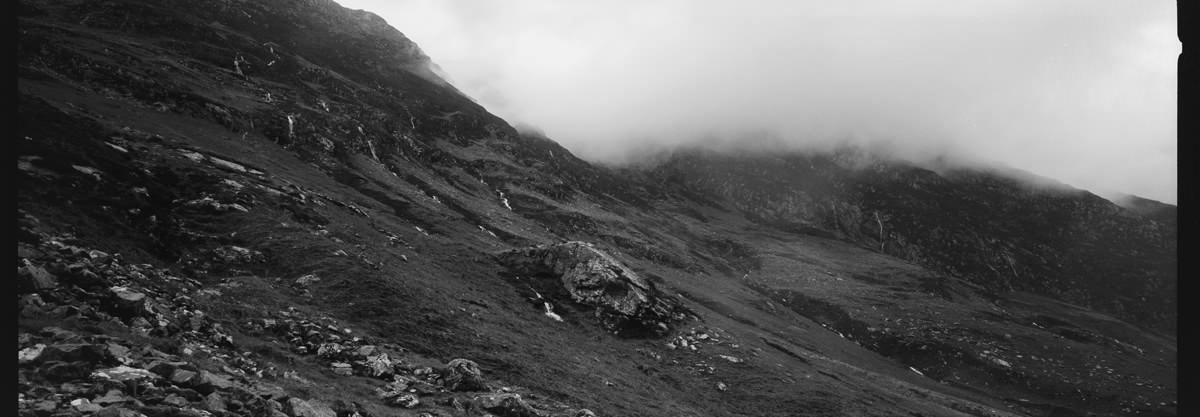 Glencoe scotland photographing on hasselblad xpan panoramic film camera and kodak trix 400