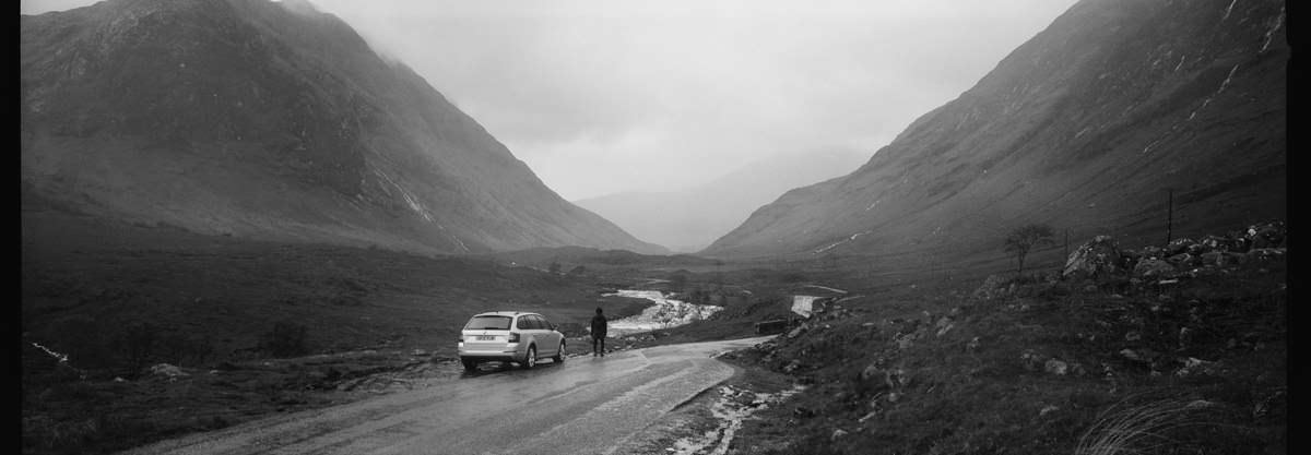 Glen Etive Skyfall Location scotland photographing on hasselblad xpan panoramic film camera and kodak trix 400