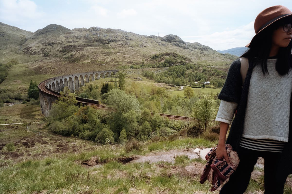 Glenfinnan Viaduct, Hogwarts Harry Potter Train scotland photographing on contax g2 film camera and kodak portra 160