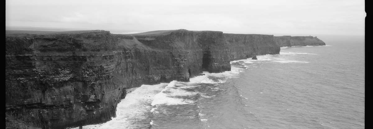 Cliffs of Moher, Hasselblad XPAN 45mm, Kodak TriX 400, Panoramic Film Ireland