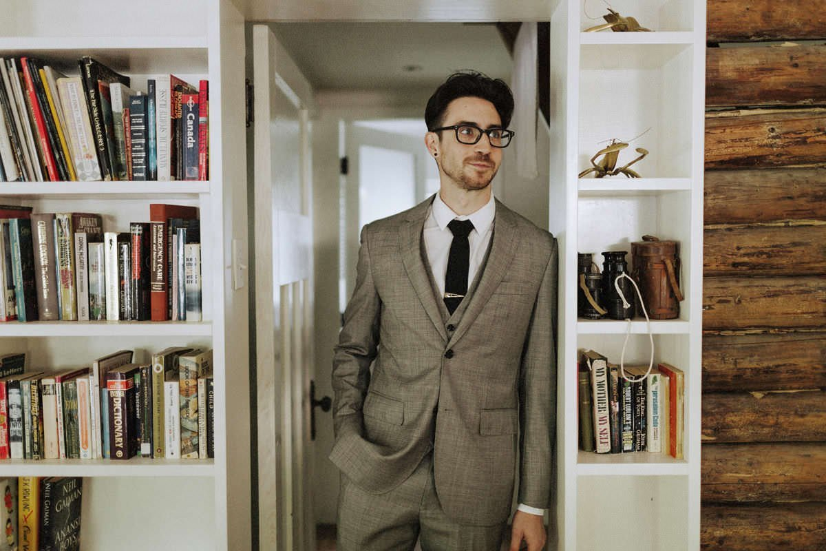 hipster groom wearing glasses