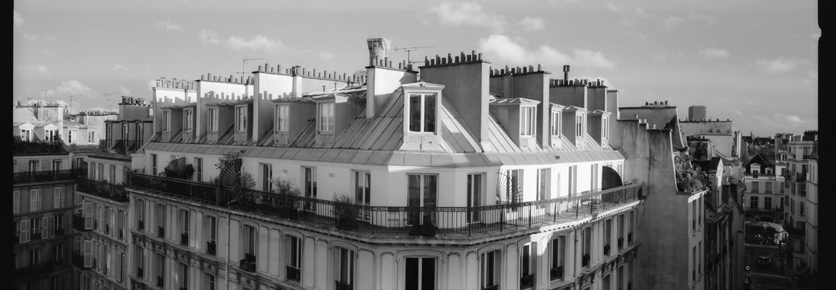 Le Marais Parisian Rooftops france street photography on hasselbald xpan 45mm on kodak trix 400