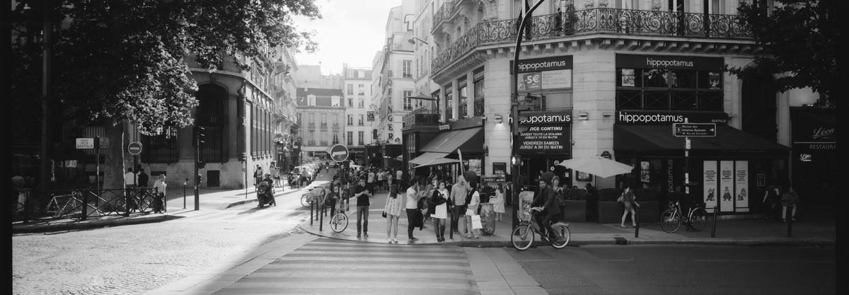 Parisian Streets france street photography on hasselbald xpan 45mm on kodak trix 400