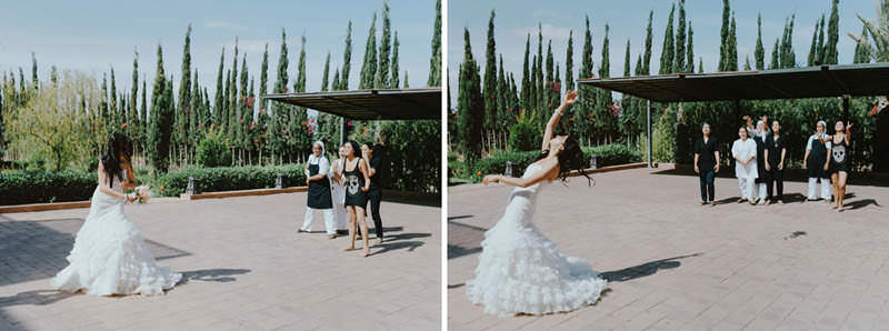 morocco wedding bouquet toss