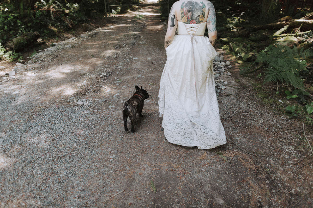 tattooed bride with french bulldog