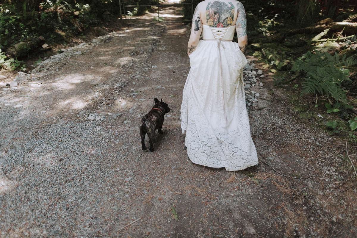 tattooed bride with french bulldog