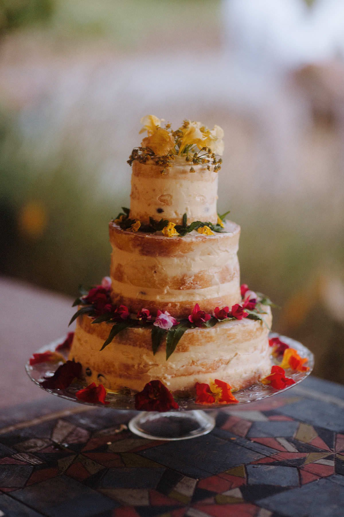 ombre floral naked tiered wedding cake