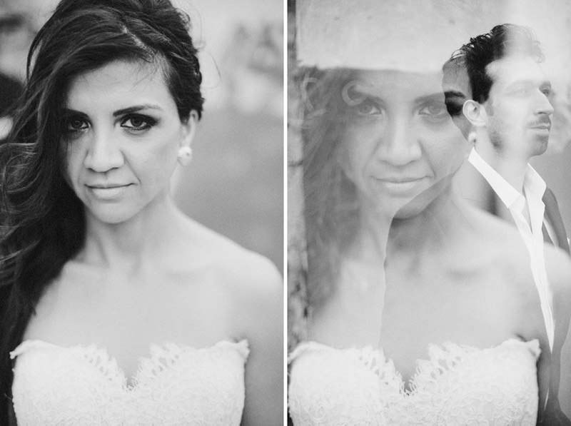wedding portraits created using in camera double exposures