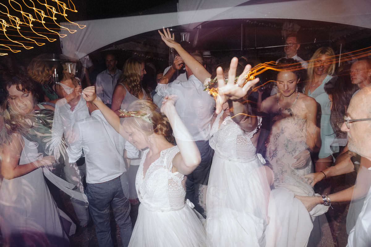 in camera double exposure of bride dancing