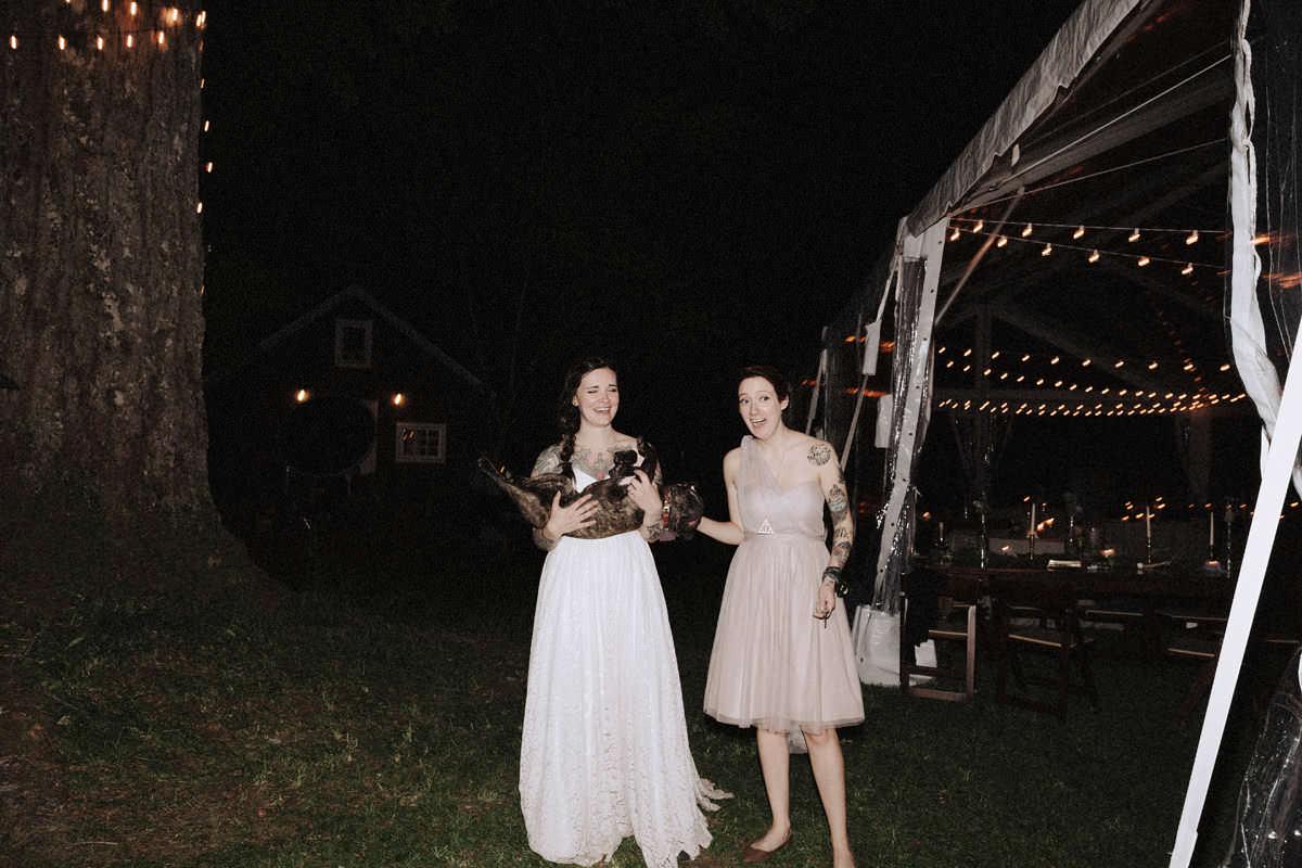 tattooed bride holding frenchie dog vancouver