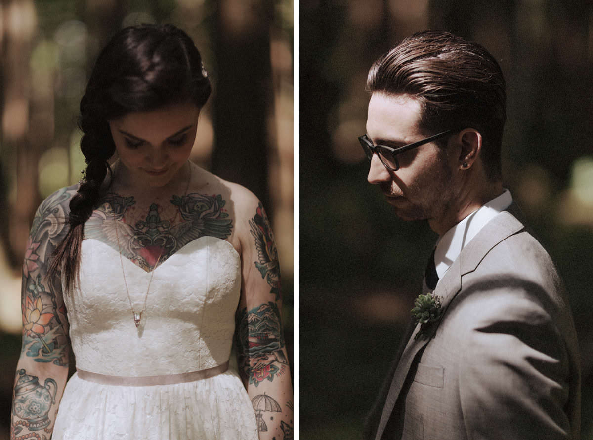 tattooed bride and groom vancouver