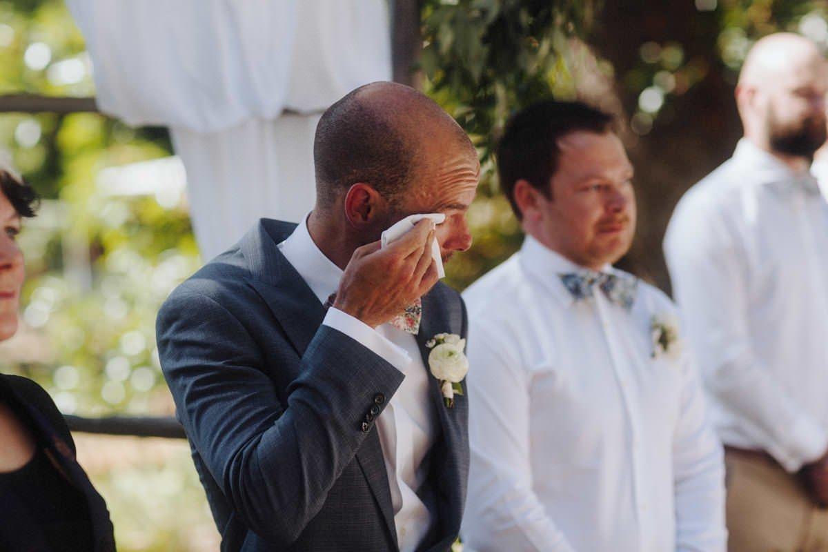 crying groom vancouver island wedding