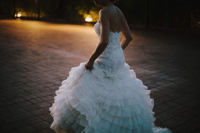 real bride wearing lazaro wedding dress
