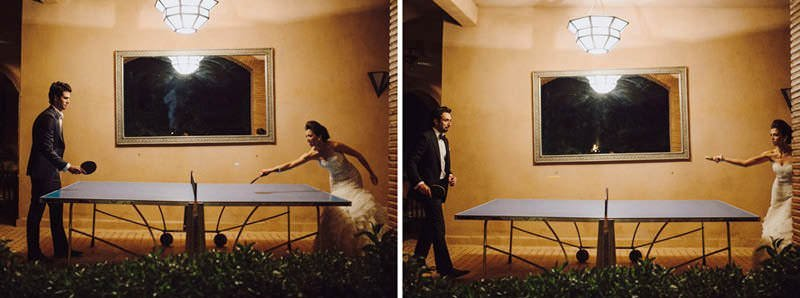 bride plays ping pong on wedding day