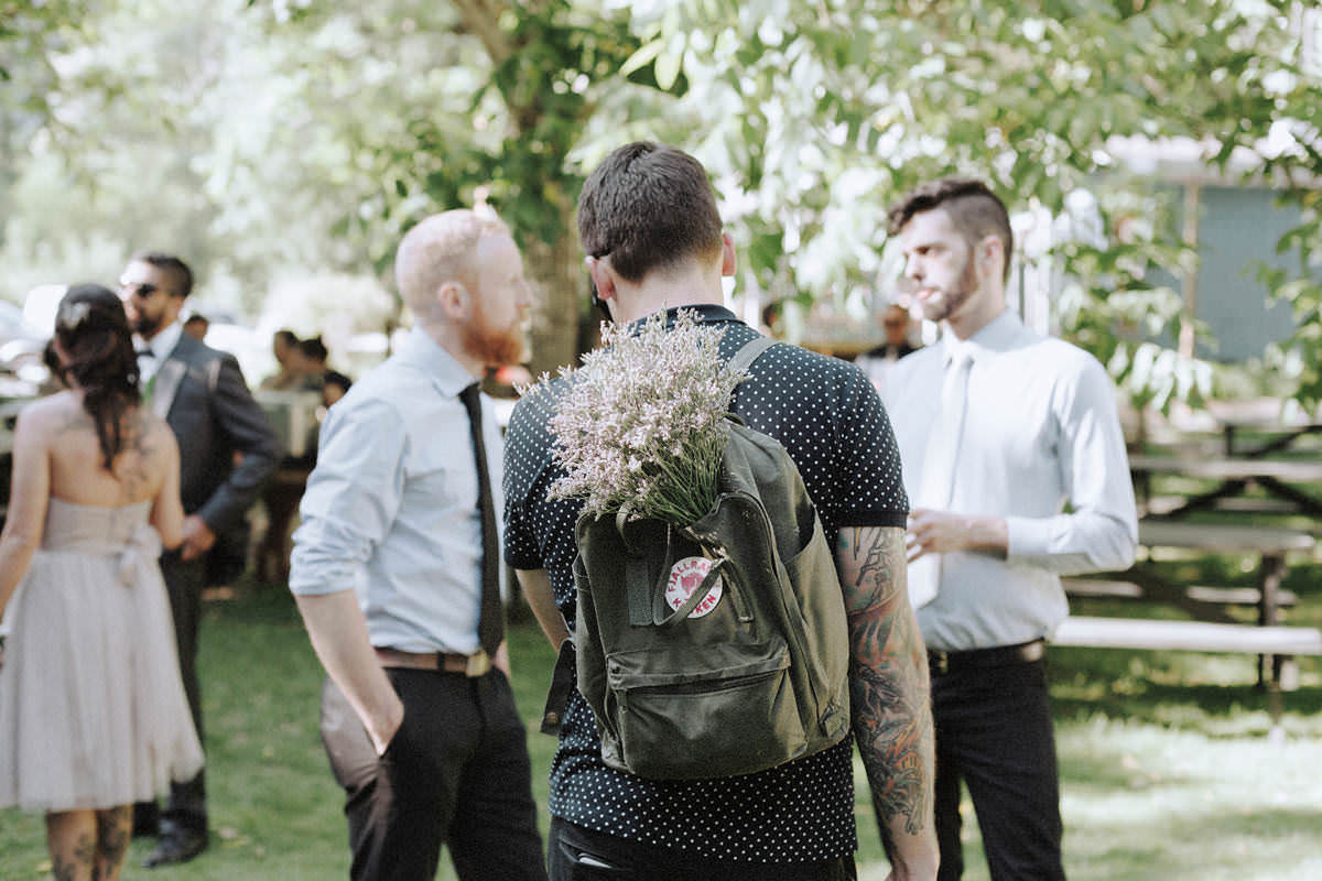 fjallraven backpack with lavender bouquet