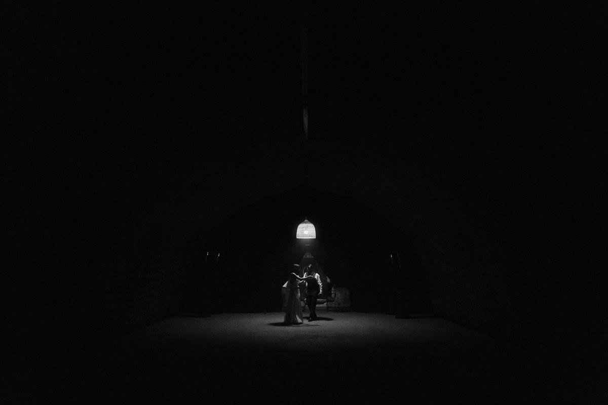 nighttime french wedding portraits
