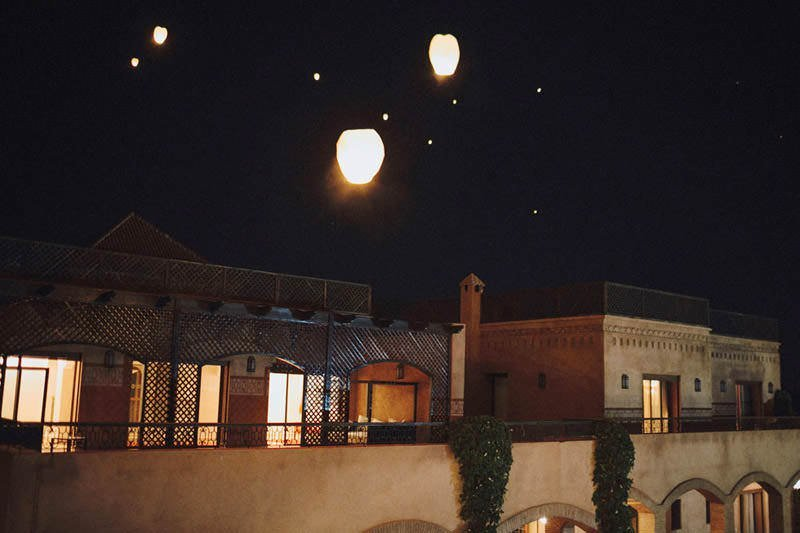 floating lanterns morocco wedding