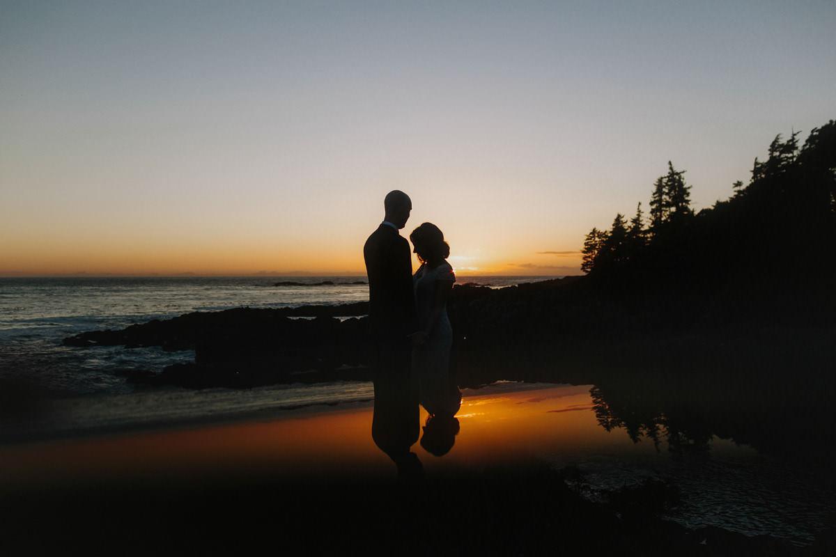 sunset wedding portraits in ucluelet