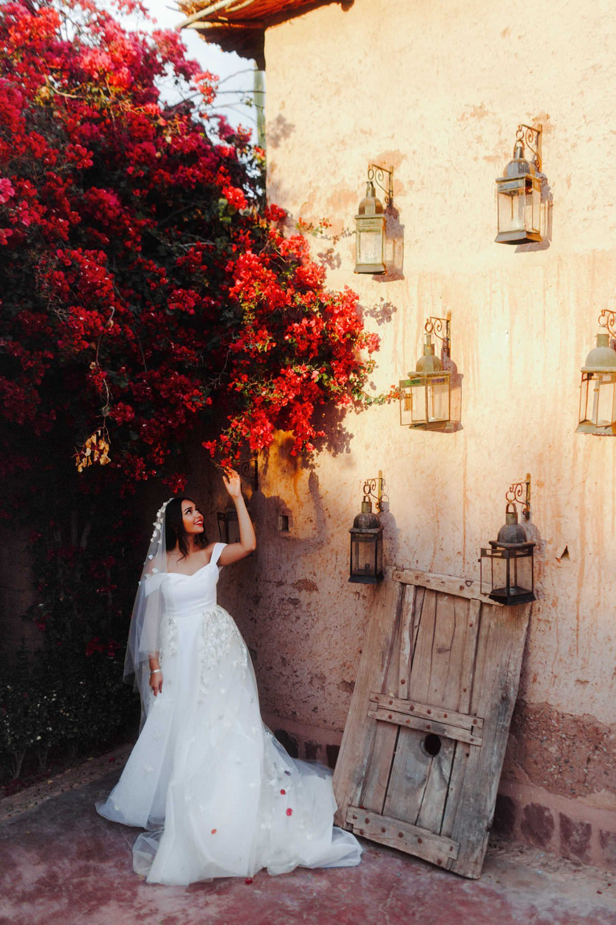 bougainvillea wedding arch morocco