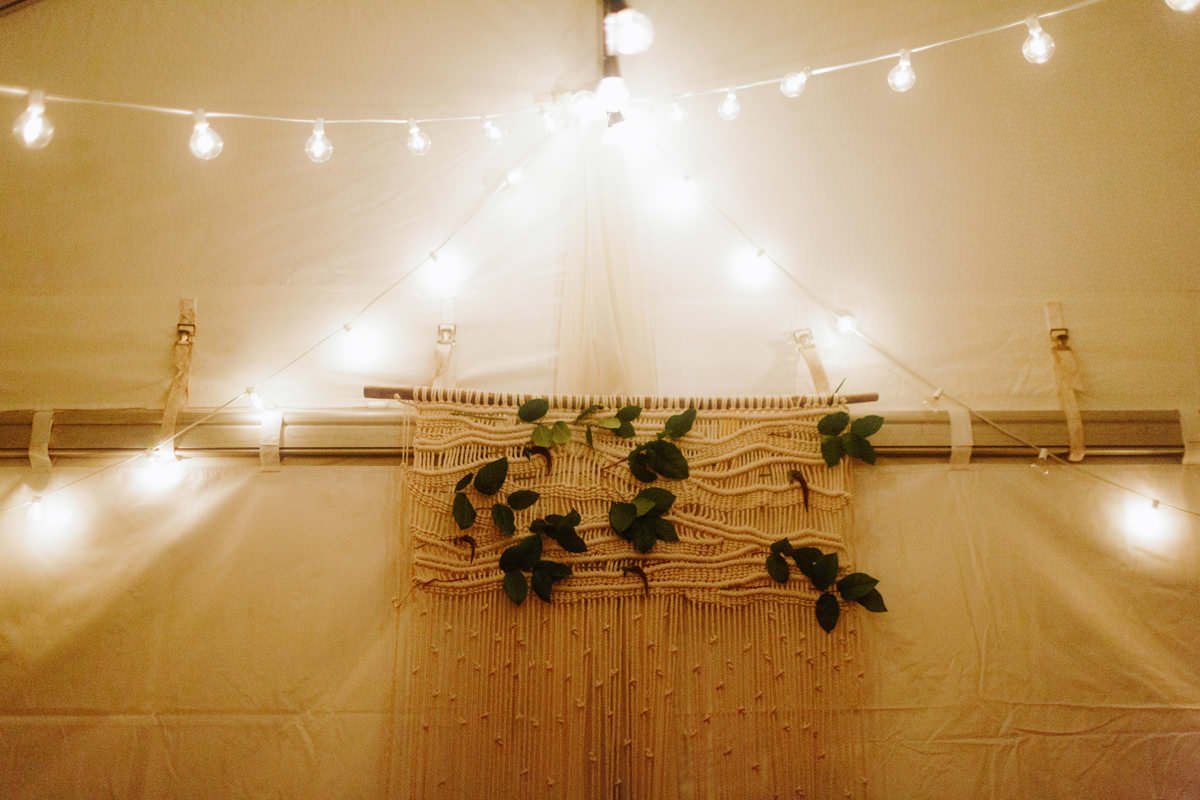 natural wall hanging with greenery wedding decor