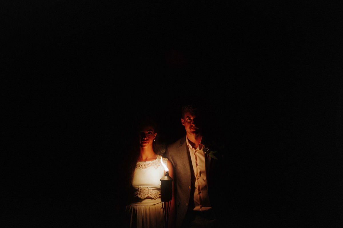bride groom torchlight