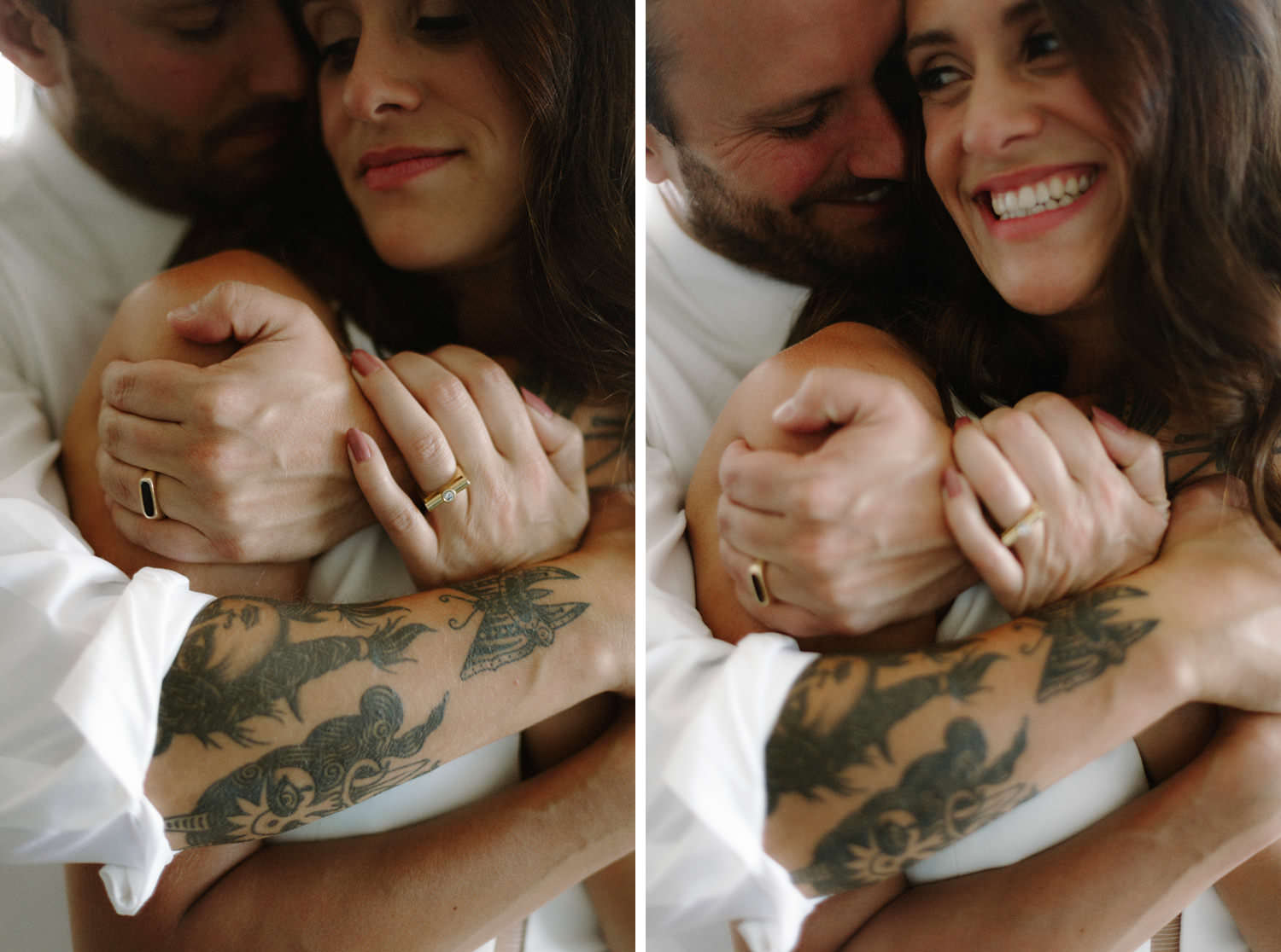 tattooed married couple wearing karen la wedding bands
