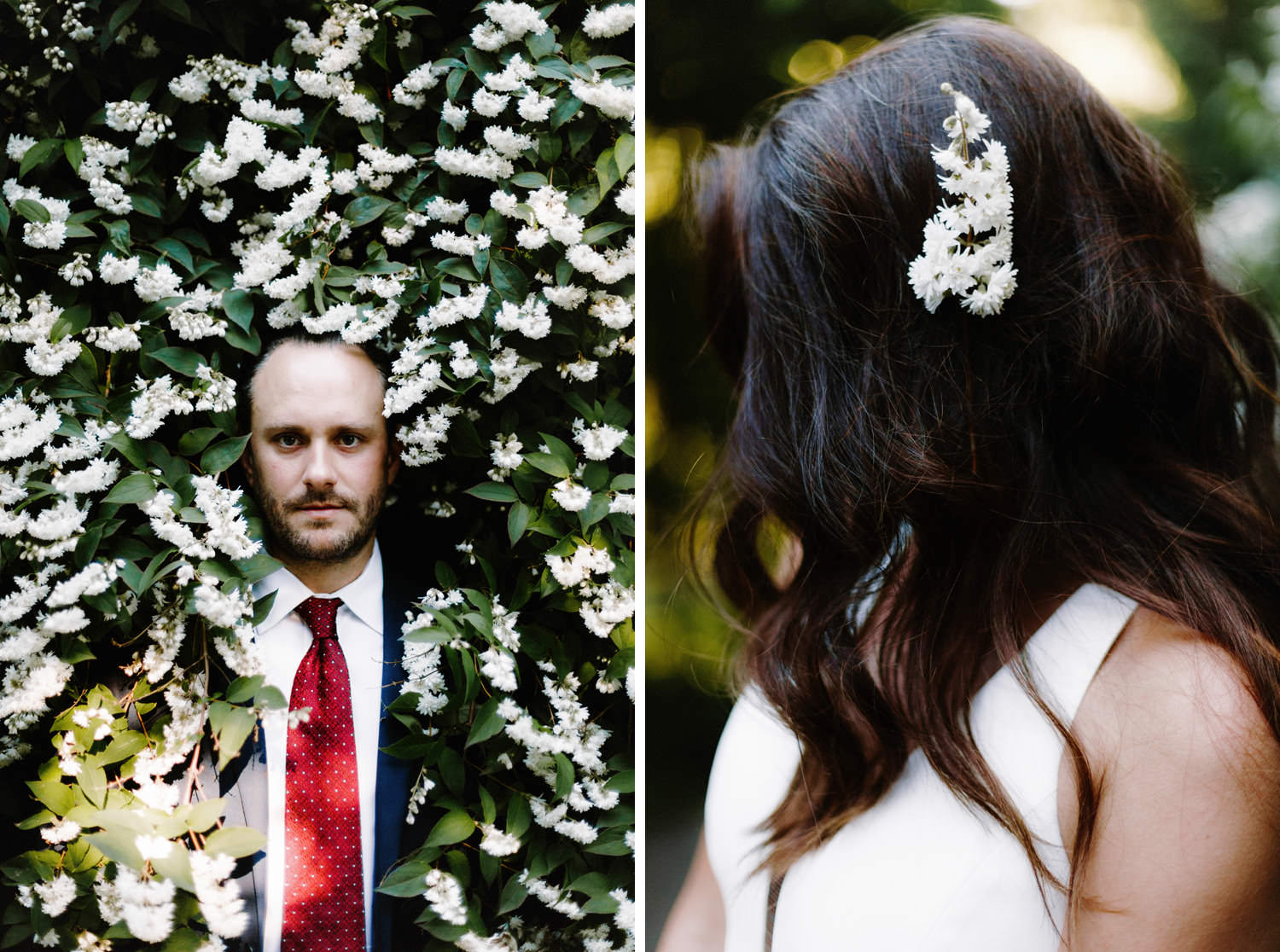portraits of bride and groom using flowers at qe park vancouver
