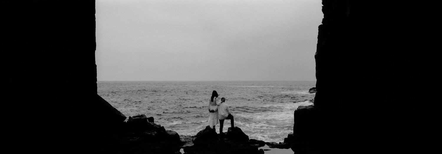 cathedral rocks engagement shot on 35mmm film hasselblad xpan