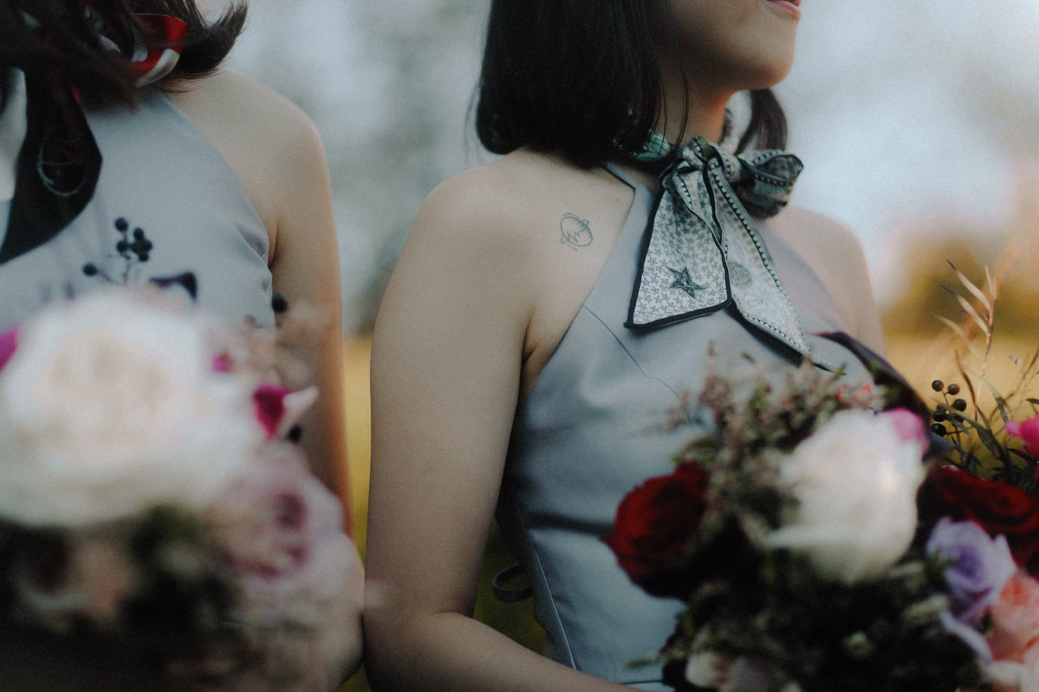 bridesmaids wearing silk scarves