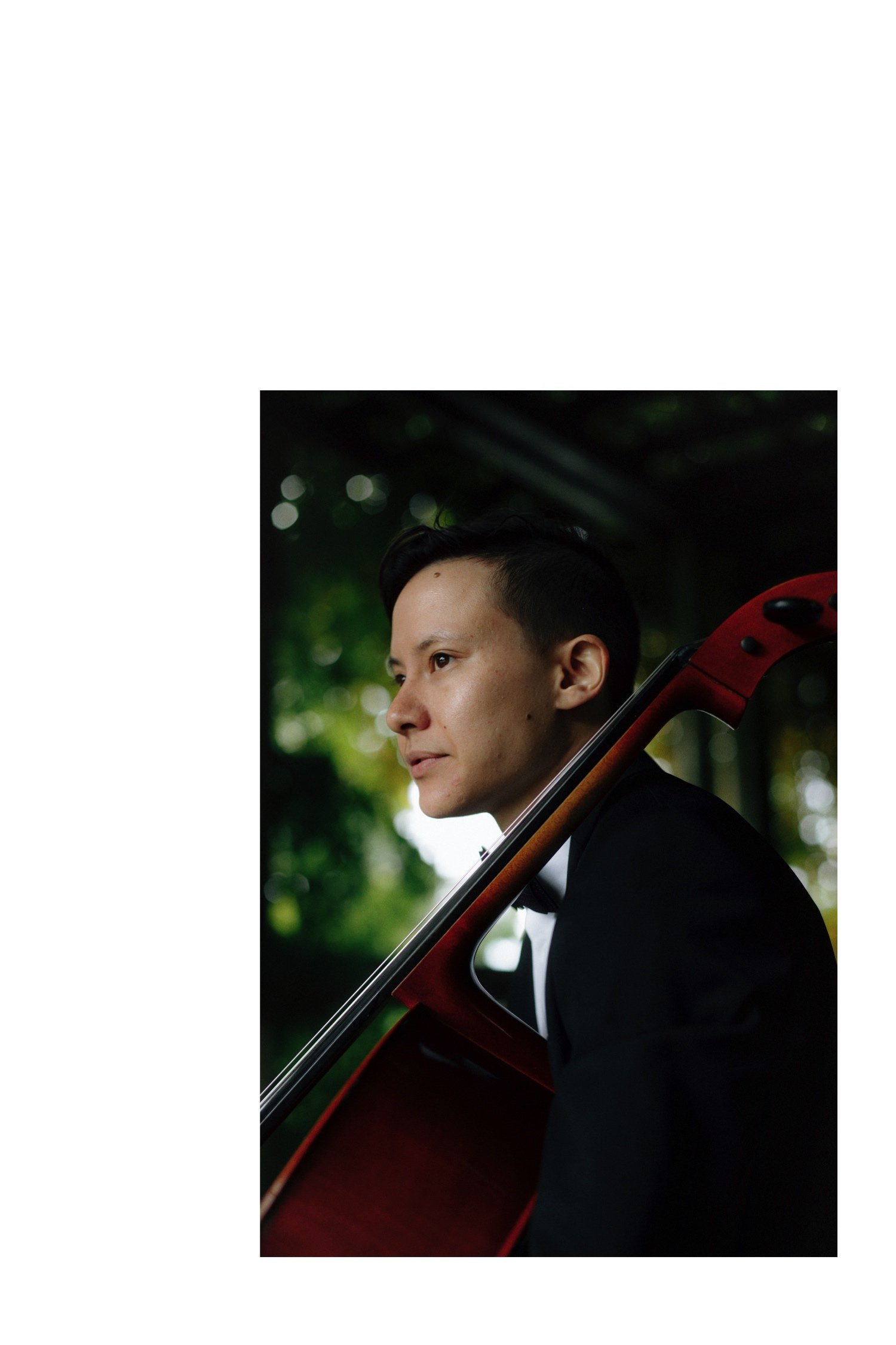 portrait of cello player at ubc botanical garden wedding