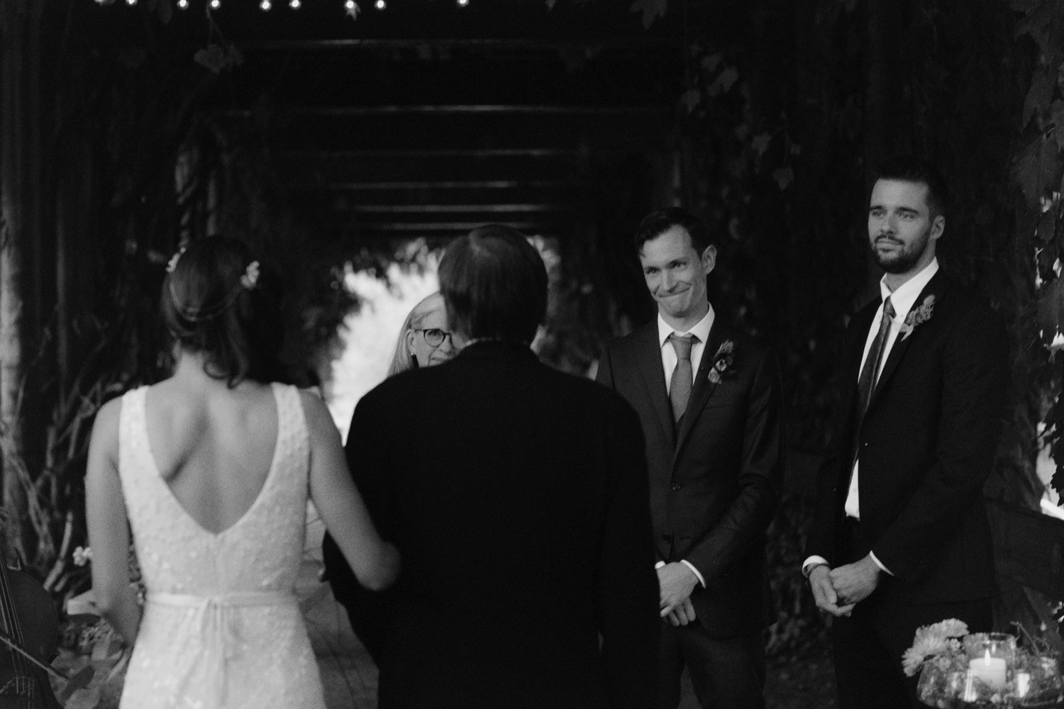 emotional groom sees bride for the first time