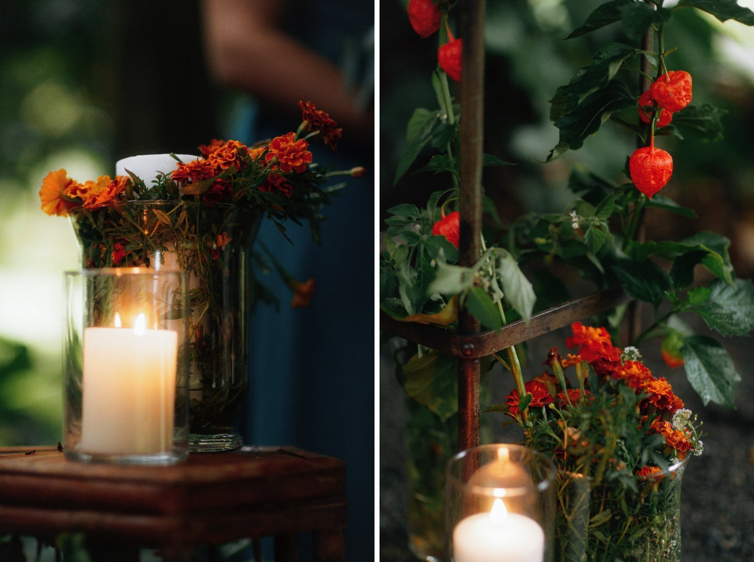 orange marigolds and chinese lanterns wedding aisle markers
