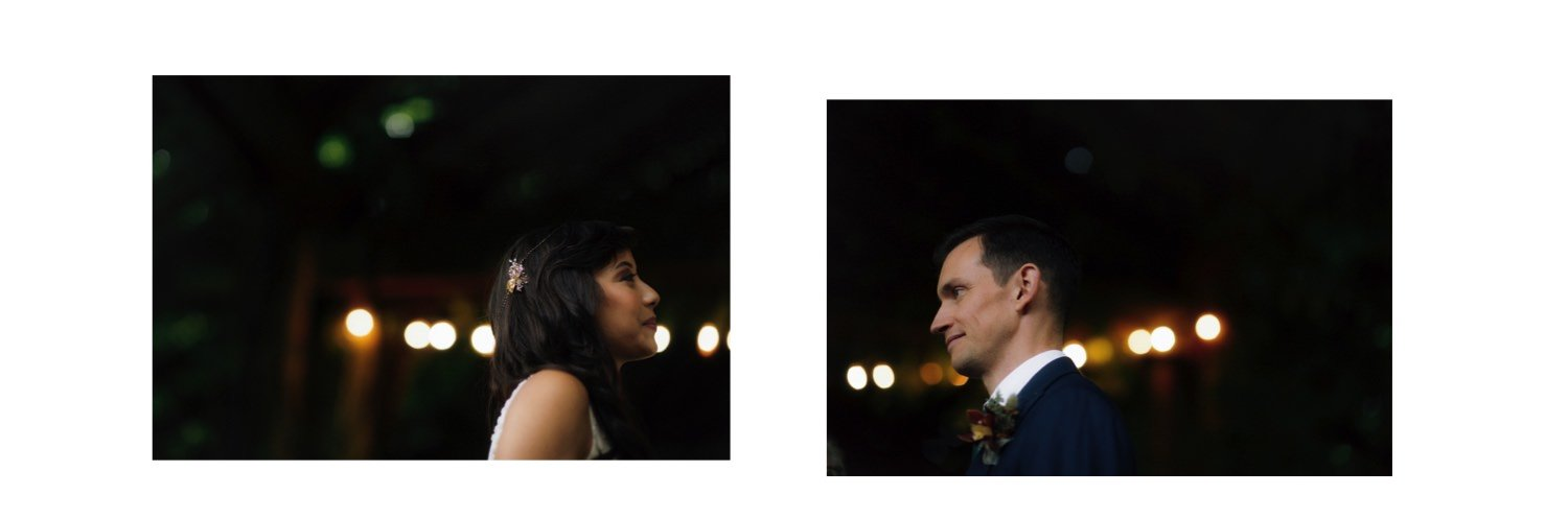 creative diptych of bride and groom during ceremony
