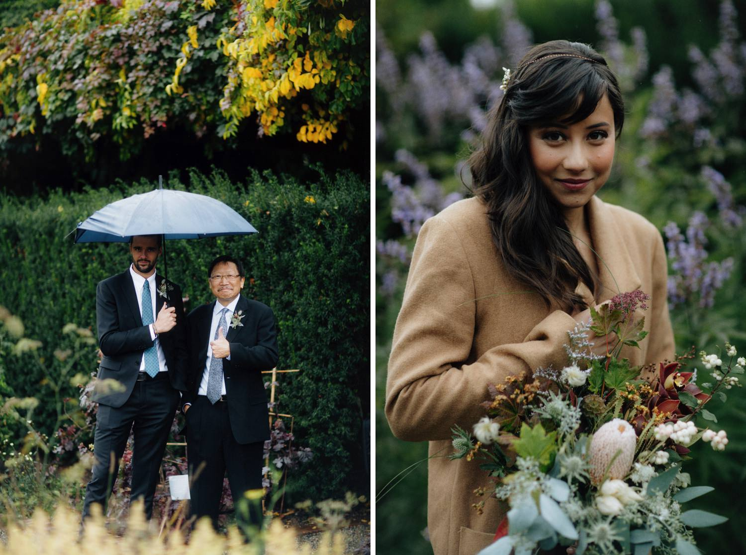 fall colours at ubc botanical garden in late september, bride with natural bouquet