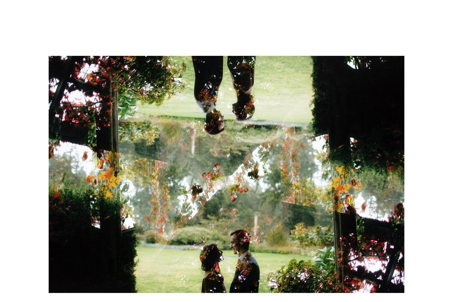 creative double exposure photo of bride and groom at ubc botanical garden