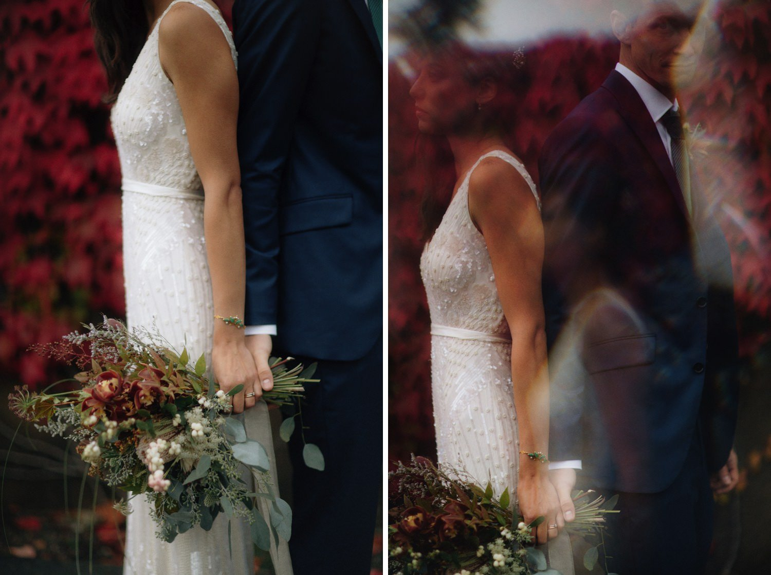 red leaves form perfect backdrop for wedding photos at ubc botanical garden
