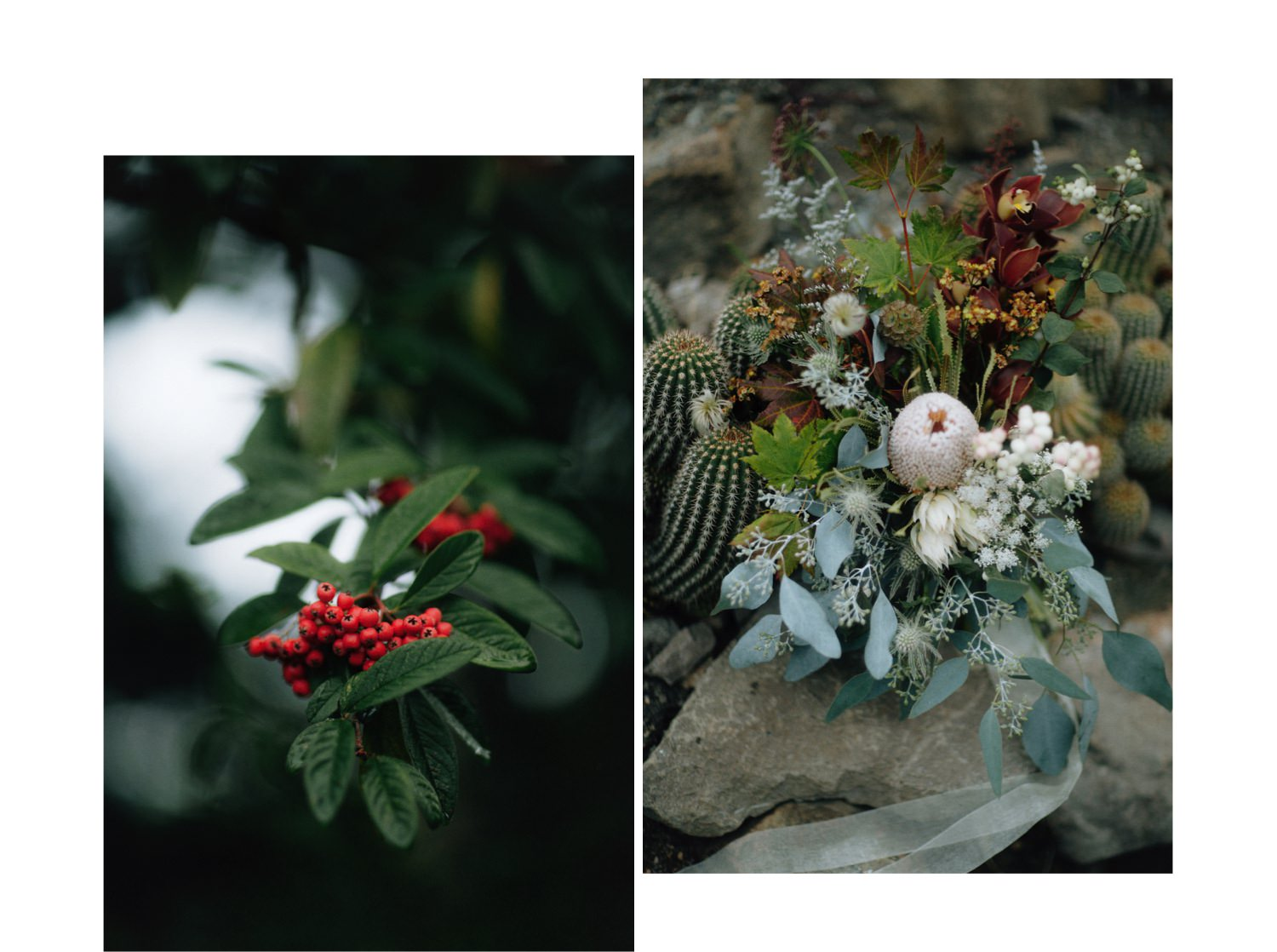 wild and natural bouquet styled with cacti