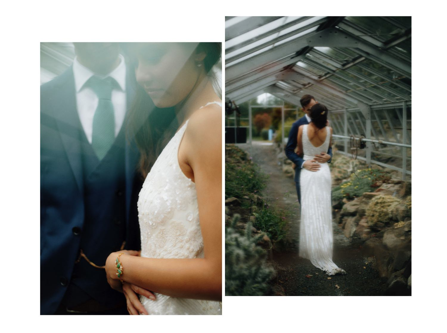 wedding portraits inside greenhouse at ubc botanical garden